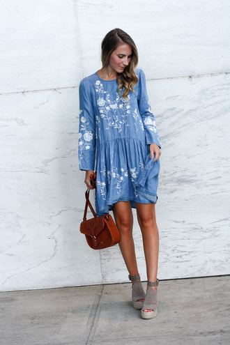 twenties girl style blogger dress shoes cardigan bag shoulder bag blue dress wedges fall outfits long sleeve dress
