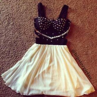 dress black little black dress white dress black studs bralette cute cream cut-out dress diamantes little black dress white silver jewelry studded dress