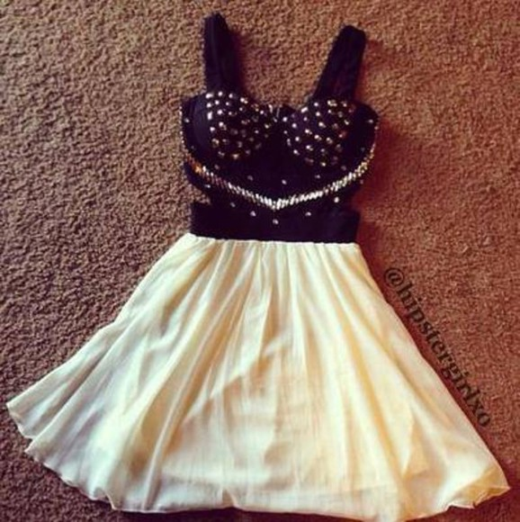 dress white studded dress black dresses silver jewelry cream white dress black little black dress black studs bralette cute cut-out dress diamantes