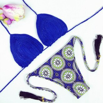 swimwear bikini blue summer beach style fashion crochet hot trendy stylish rose wholesale-jan