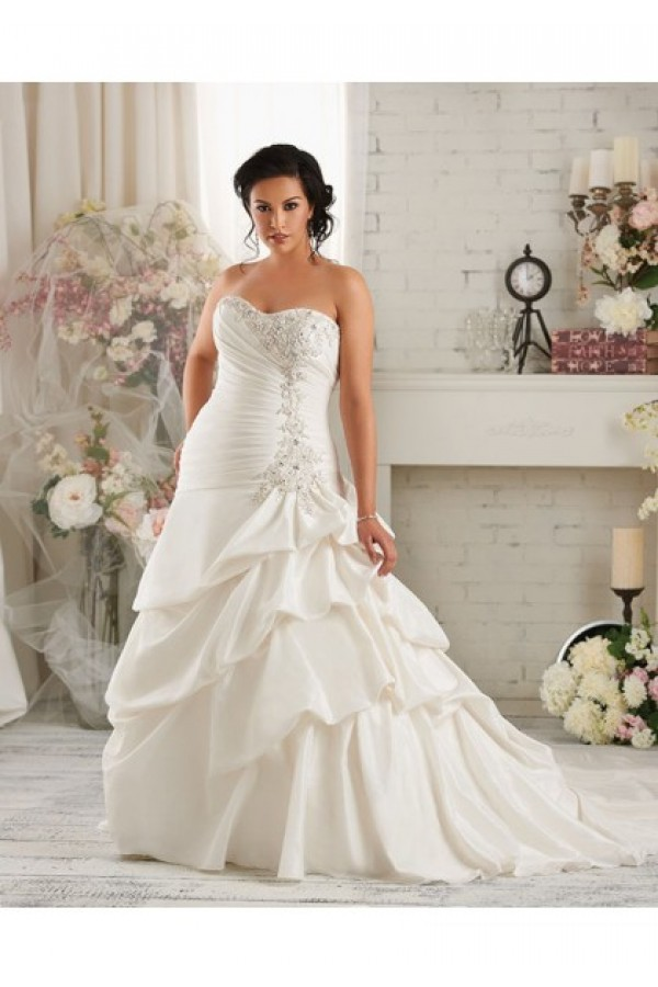A-Line V-Neck Lace-up Court Train Taffeta Sleeveless Plus Size Wedding Dresses