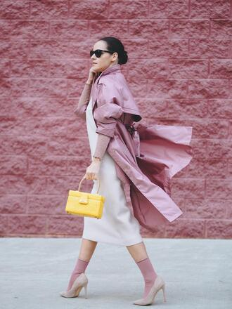 coat tumblr pink coat trench coat bag yellow yellow bag dress midi dress white dress socks pumps pointed toe pumps high heel pumps nude heels sunglasses black sunglasses