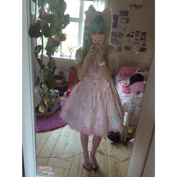 kawaii lolita japan pink dress japanese fashion