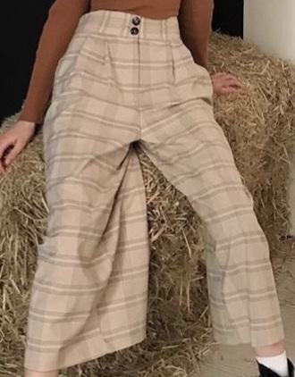 pants minaxbell pnats cute pretty beige plaid instgram fashion instagram youtuber baddies tracksuit trousers lolita fashion wow