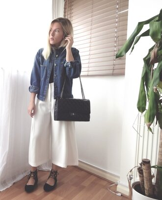 style lime light blogger denim jacket culottes strappy flats