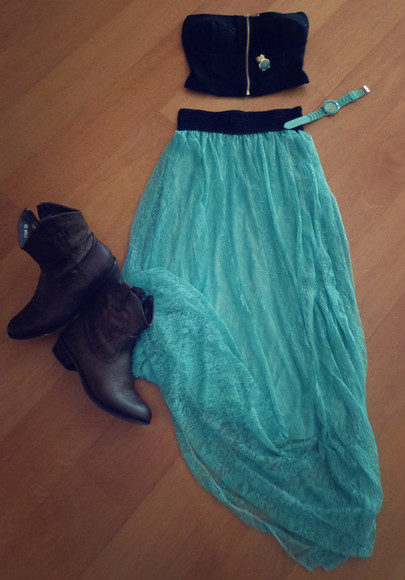 skirt crop tops shirt lace top bralet watch ring blue skirt mint green skirt boots lace skirt