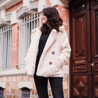 jacket tumblr white jacket fuzzy jacket teddy bear coat top black top