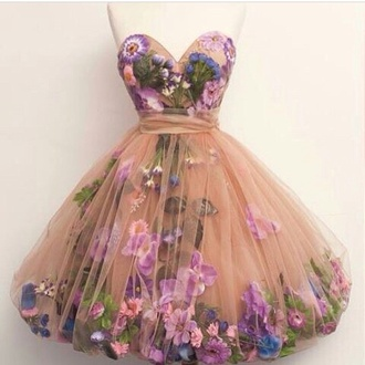 dress flor flowers peach purple pretty strapless sweetheart tulle skirt fluffy spring prom formal party fancy dres floral sweetheart dress