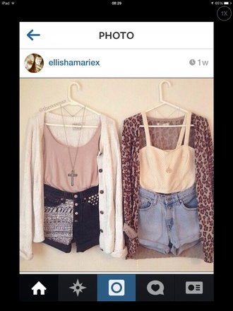 shorts leopard print tumblr cardigan knitted cardigan necklace aztec sequin shorts tank top bralette tumblr girl tumblr clothes girly vans girly grunge girly outfits tumblr swag cute pretty pink by victorias secret summer summer outfits summer top cross cross necklace shirt t-shirt sweater jewels grunge nirvana 90s style