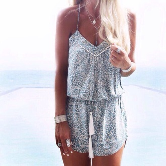 romper flowery pretty blue and white summer dress boho dress