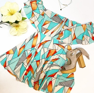 dress summer dress geometrical dress multicolor mini dress