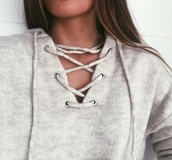 sweater,sweatshirt,swetshirts,shirt,blouse,grey,grey sweater,girl,brunette,strappy sweater,gry,wool,fashion,lacing,lace up,pretty,comfort,comfy,fall outfits,spring,comfy n cute,winter sweater,beige
