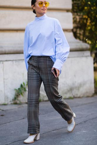 blouse fashion week street style fashion week 2016 fashion week paris fashion week 2016 blue top long sleeves pants tartan plaid printed pants grey pants shoes white shoes sunglasses