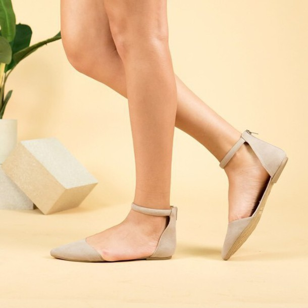 shoes, flats, pointed toe flats, taupe