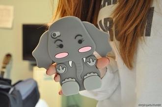 earphones phone cover elephant cute