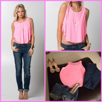 top tank top style t-shirt shirt pretty cute top summer top summer spring comfy cool jeans light pink electric spring outfits urban sporty chic crop cropped gorgeous fun bright dope instagram tumblr clothes clothes threads