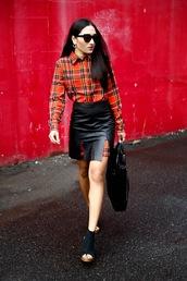 inside in inside out,blogger,jacket,skirt,shoes,bag,sunglasses,jewels,flannel,leather skirt