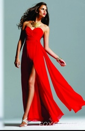 dress,fox gown,red dress,strapless,redpromdress,redlongdress promdress,red dress prom,clothes,faviana 6428,prom dress,long prom dress,strapless dress,homecoming dress,open leg dress,red,red prom dress,sweetheart dress