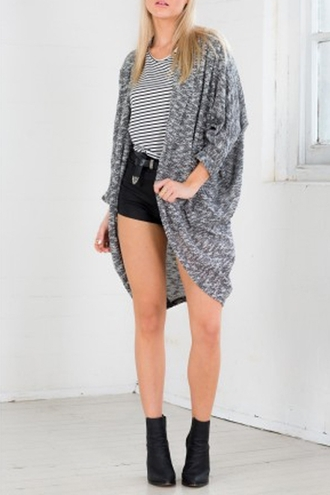 cardigan fashion style grey trendy long sleeves batwing sleeve loose-fitting cardigan casual cool fall outfits stylish