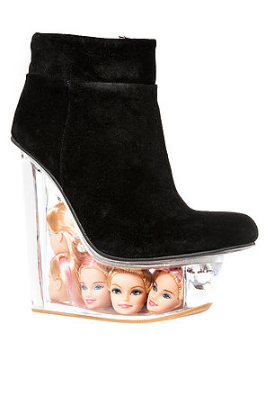 Jeffrey Campbell Shoe Icy in Black Suede and Doll Heads -  Karmaloop.com