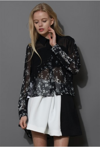 Meteor Shower Asymmetric Chiffon Shirt - Retro, Indie and Unique Fashion