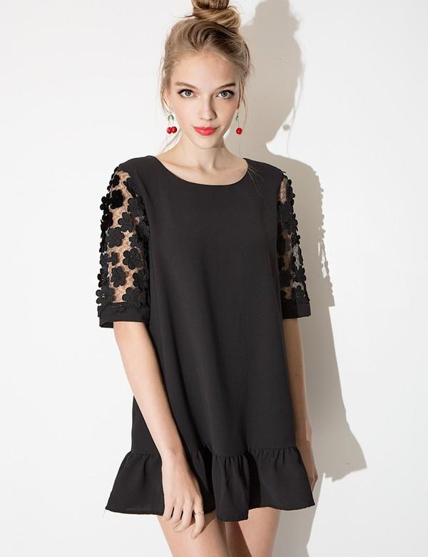 Daisy Sleeve Babydoll Dress - Black Crochet Mini Dress -