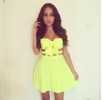 dress yellow dress bow dress