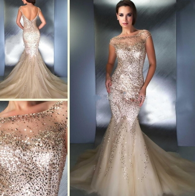 Backless Tulle See Through Sweetheart Sequin Mermaid Prom Dresses - Juicy Wardrobe