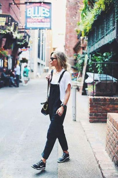 pants white t-shirt black overalls black sneakers sunglasses blogger