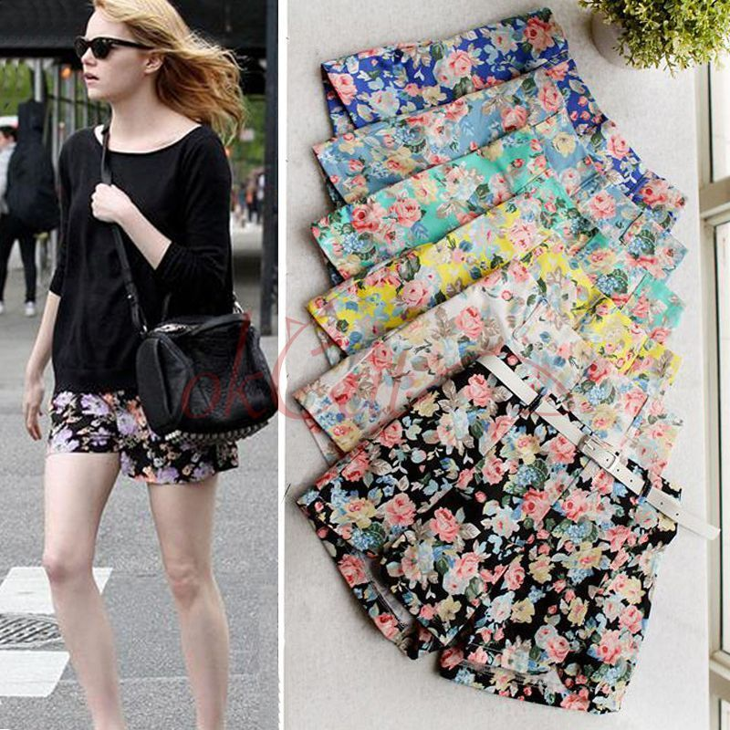 Fashion Hot Women's High Elastic Waist Floral Print Shorts Mini Short Pants | eBay