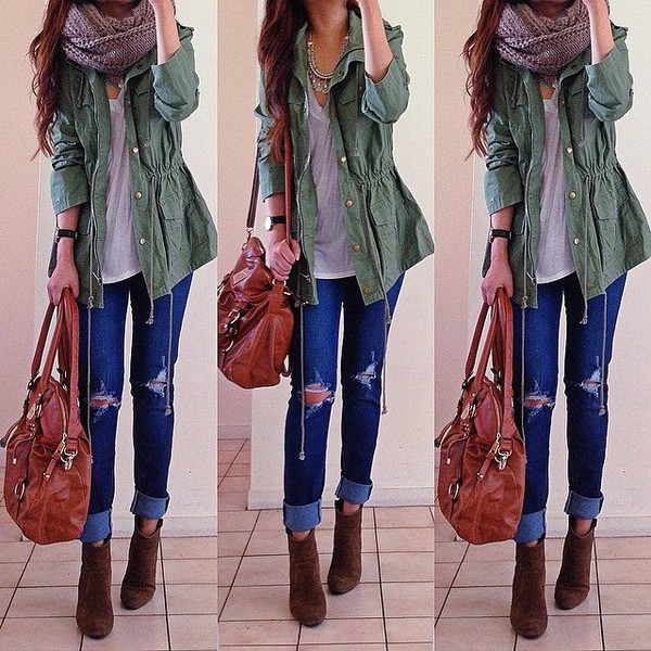 scarf jacket jeans infinity scarf army green jacket ripped jeans brown boots