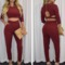 Fashion solid color zipper jumpsuits two-piece 818842