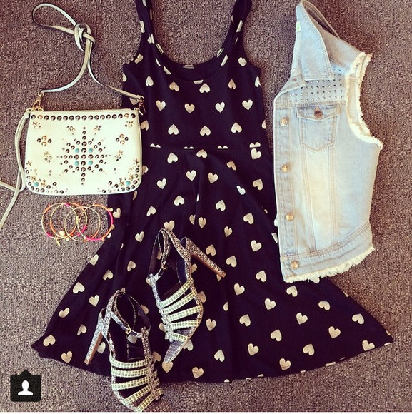 edgy cute black high heels dress heart dress metallic metallic hearts hearts heart vest denim vest little black dress cute outfit cute dress sandals girly girly outfit girly dress