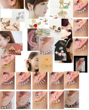 kpop korea piercing crystal rhinestone ear wrap cuff stud earrings cute new | eBay