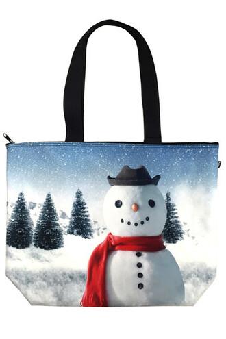 bag snow man snow tote bag tote holiday season holiday gift print bag christmas
