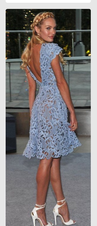 dress blue dress lace dress candice swanepoel backless dress date outfit