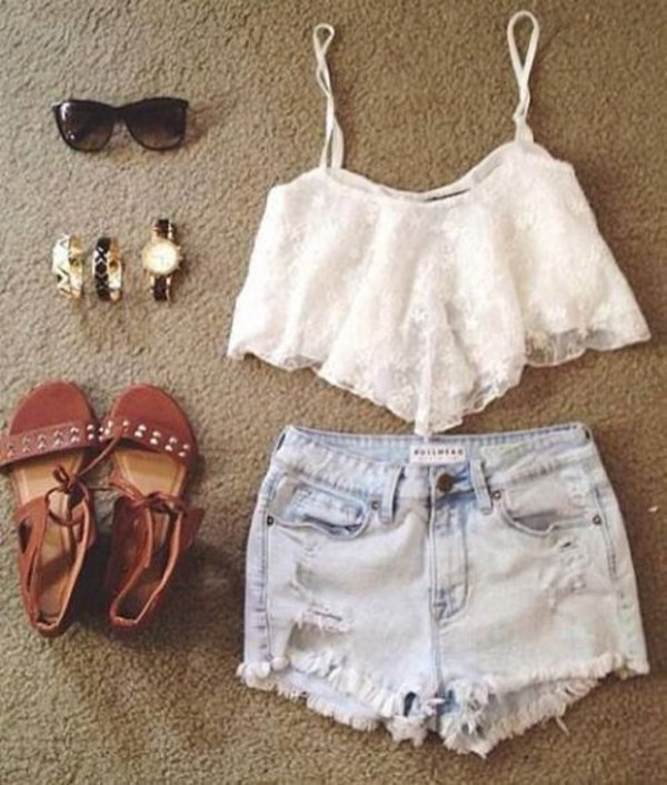 shorts outfit clothes top shoes accessories sunglasses jewerly blouse bag jewels flats bracelets