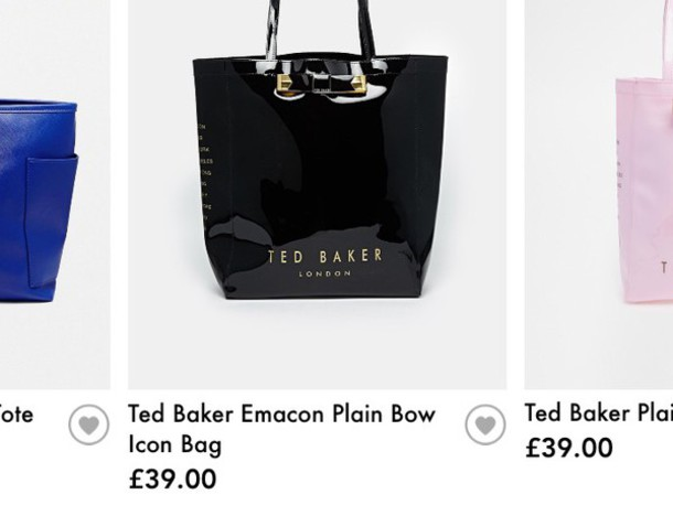 bag a black ted baker bag with a plain bow on it