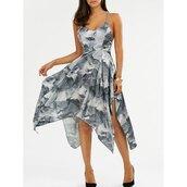 dress,cami dress,open back dresses,printed dress,grey dress,asymmetric dress