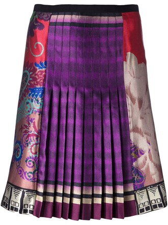 skirt pleated skirt pleated print purple pink