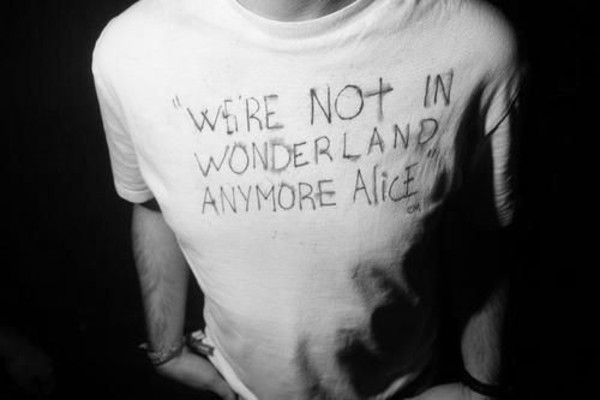 top alice in wonderland b&w black and white wonderland boy clothes depressing hipster awkward aww sad quote i miss you dont care don't care don't trust don't touch me white rabbit t-shirt disney dope grunge