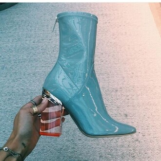 shoes clear booties boots platform shoes dior ice blue mid heel boots patent shoes