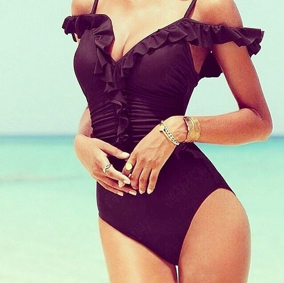 swimwear black black swimwear ruffles swimsuitstyle ruffle swimsuit