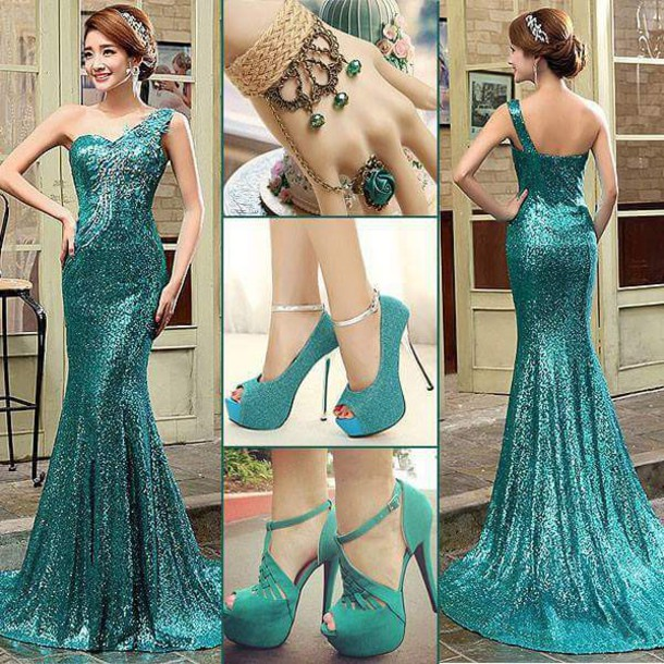 dress prom dress one shoulder dresses teal dress sparkly dress shoes