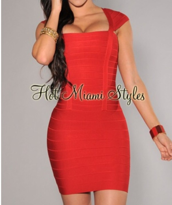 dress red bandage dress