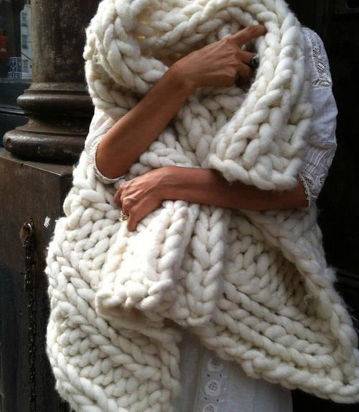 white ivory scarf wool winter outfits
