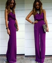 dress,winter outfits,pants,purple,jumpsuit,elegant,sexy,wide leg jumpsuit,halter neck,romper,evening outfits,evening dress,cocktail dress,chic,purple jumpsuit,loose,summer,flare,purple romper