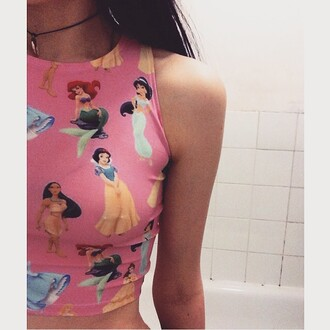 blouse disney disney princess crop tops pink