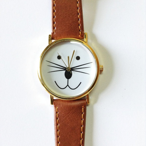 jewels cat watch cats kitty watch watch watch jewelry fashion style accessories leather watch handmade etsy