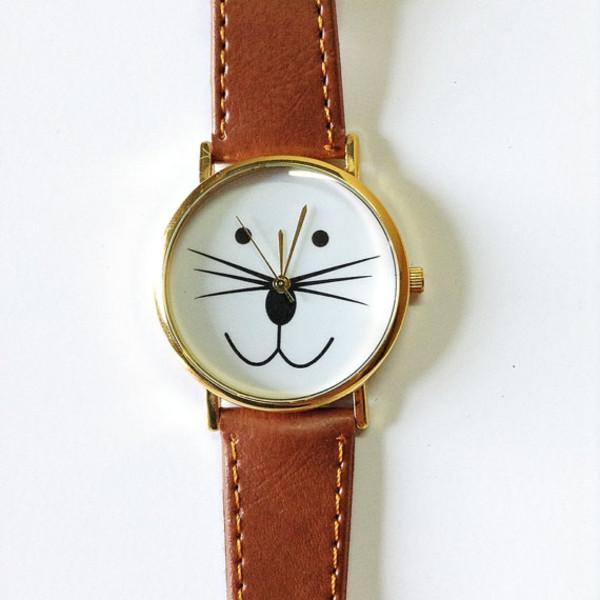 jewels cat watch cats kitty watch watch watch jewelry fashion style accessories leather watch handmade etsy